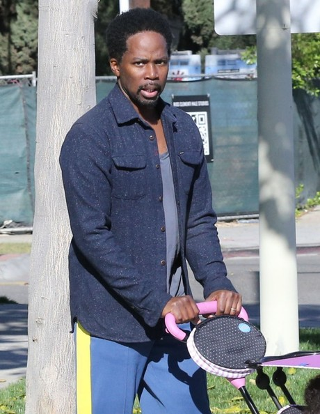 actor Harold Perrineau takes his daughter Holiday for a walk in West Hollywood, California on January 25, 2014