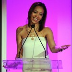 Shawn Thompson (Multicultural Marketing Manager, Lincoln) delivers a speech at ESSENCE Black Women in Hollywood