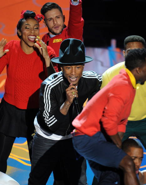 Singer Pharrell Williams performs onstage during the Oscars at the Dolby Theatre on March 2, 2014 in Hollywood, California