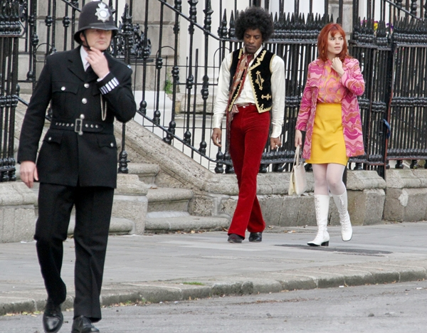"""Andre 3000 and Hayley Atwell on set of the Jimi Hendrix film """"All is By My Side"""" in Dublin, Ireland."""