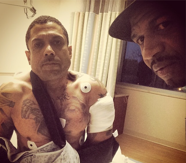Benzino and Stevie J in a selfie from the hospital posted on Twitter