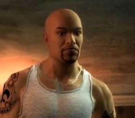 black video game character from Saints Row 2