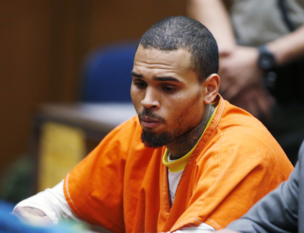 Chris Brown appears in court for a probation violation hearing during in Los Angeles Superior on March 17, 2014 in Los Angeles, California.