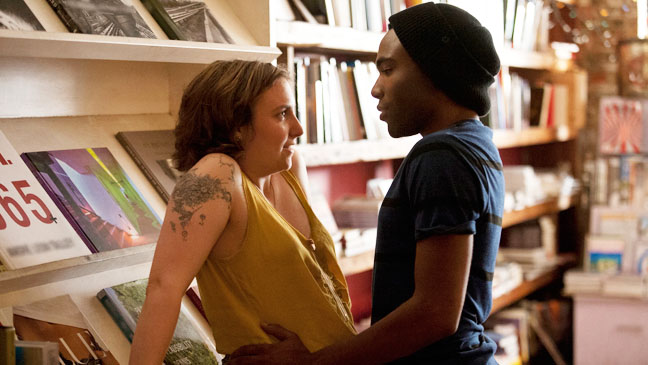 """Lena Dunham and Donald Glover in HBO's """"Girls"""""""