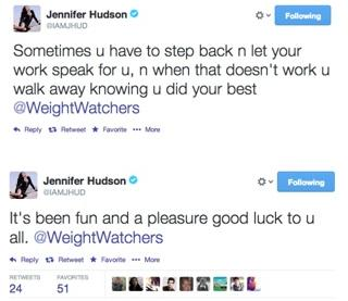 jennifer hudson  weight watchers tweet