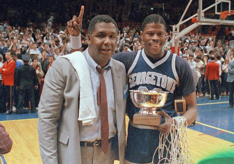 Coach John Thompson of Georgetown University becomes the first black coach to win the NCAA basketball tournament