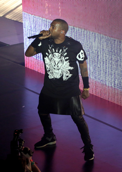 Kanye West performs onstage as Samsung Galaxy presents JAY Z and Kanye West at SXSW on March 12, 2014 in Austin, Texas,