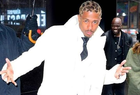 nick cannon - white outfit - crazy hair2