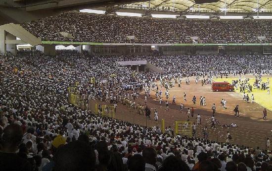 nigerian stadium filled with job seekes