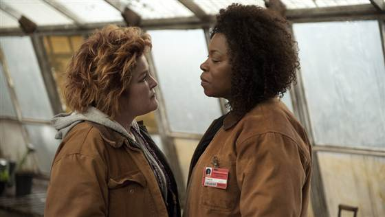 "Kate Mulgrew, left, and new cast member Lorraine Toussaint in a scene from ""Orange is the New Black."""