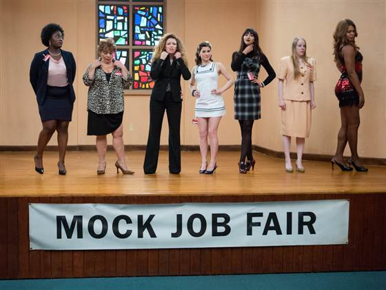 """Orange is the New Black"" stars, from left, Danielle Brooks, Lin Tucci, Natasha Lyonne, Yael Stone, Jackie Cruz, Emma Myles and Laverne Cox in a scene the upcoming second season."