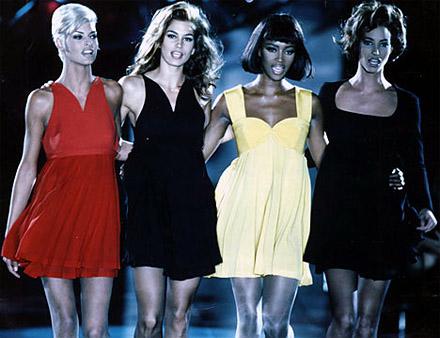 (L-R) Linda Evangelista, Cindy Crawford, Naomi Campbell and Christy Turlington