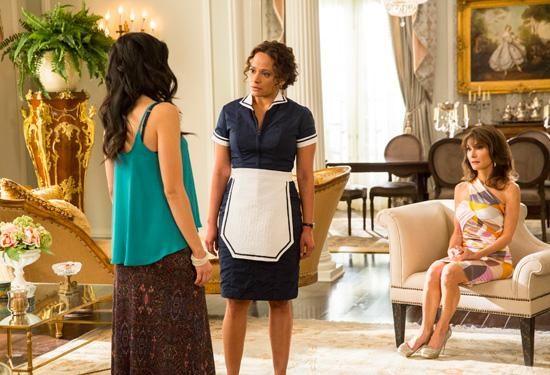 """(L-R) Edy Ganem, Judy Reyes and Susan Lucci film a scene for Season 2 of Lifetime's """"Devious Maids"""""""