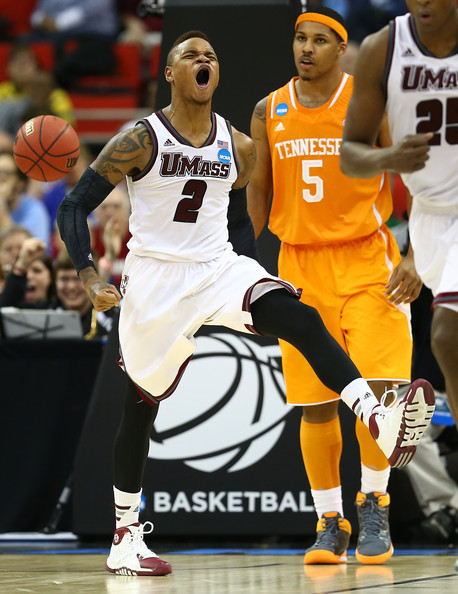 Derrick Gordon #2 of the Massachusetts Minutemen reacts while taking on the Tennessee Volunteers in the second round of the 2014 NCAA Men's Basketball Tournament at PNC Arena on March 21, 2014 in Raleigh, North Carolina