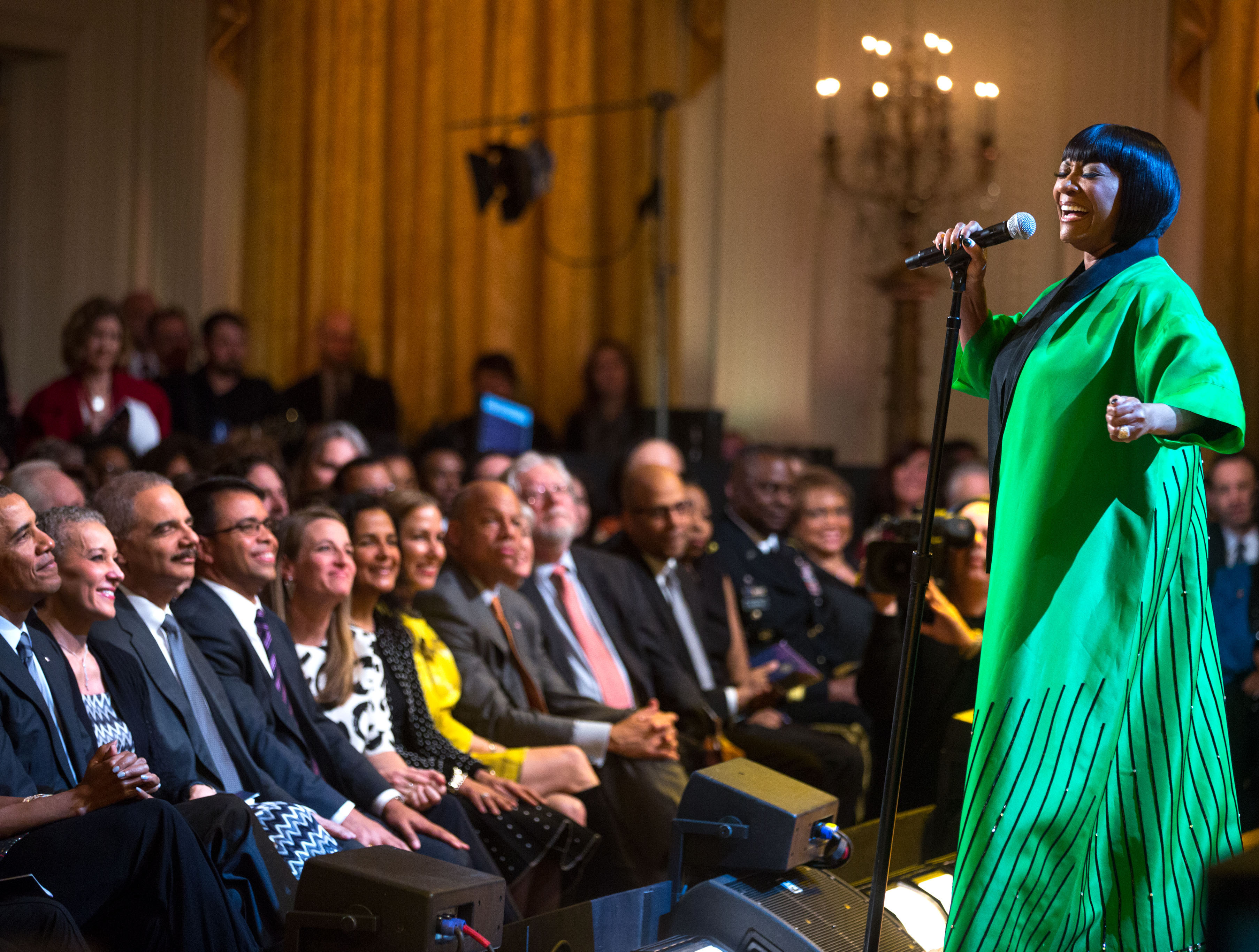 "President Barack Obama and First Lady Michelle Obama host ""Women of Soul: In Performance at the White House"" in the East Room of the White House, March 6, 2014. Patti LaBelle performs"