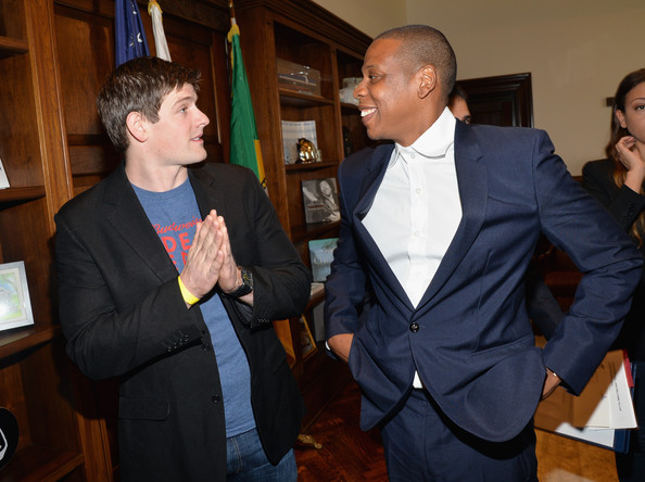 (L-R) Budweiser Vice President Brian Perkins and recording artist Jay Z attend Budweiser Made In America Press Conference at Los Angeles City Hall on April 16, 2014 in Los Angeles, California