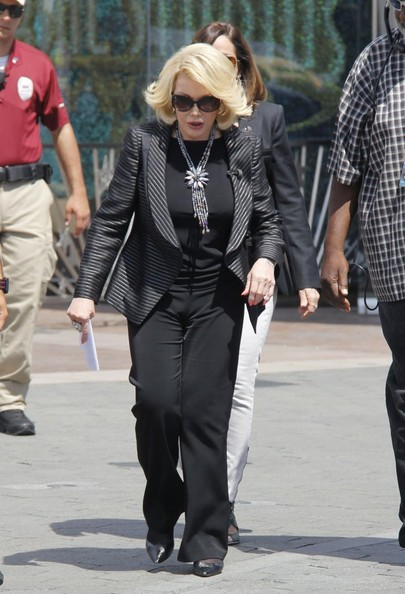 Joan Rivers at Universal Studios to do an interview for the show EXTRA in Universal City, California on April 9, 2014