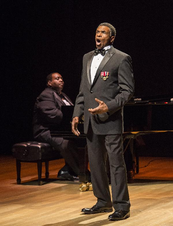 Keith David, accompanied here by Byron J. Smith, stars in the Ebony Repertory Theatre production, Paul Robeson