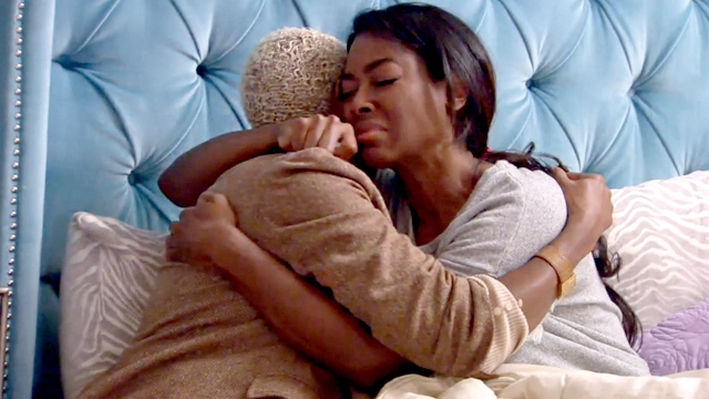 "Aunt Lori tries to console Kenya Moore on Bravo's ""The Real Housewives of Atlanta"""
