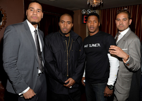 "(L-R) Screenwriter Erik Parker, Rapper Nas, Actor Nate Parker, and Filmmaker One9 attend the ""Time Is Illmatic"" Premiere after party during the 2014 Tribeca Film Festival sponsored By Hennessy VS and Beats Music at Providence on April 16, 2014 in New York City."