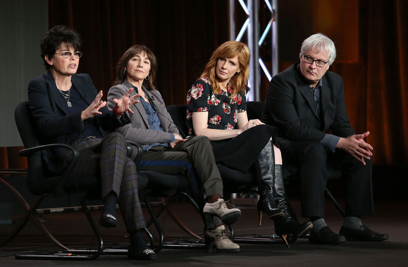 (L-R) Executive Producers Amy Holden Jones, Hene Chaiken, actress Kelly Reilly and Director Simon Curtis of the television show 'The Black Box' speak onstage during the Disney ABC Television Group portion of the 2014 Winter Television Critics Association press tour at the Langham Hotel on January 17, 2014 in Pasadena, California