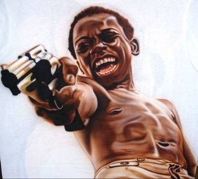 black kid with gun