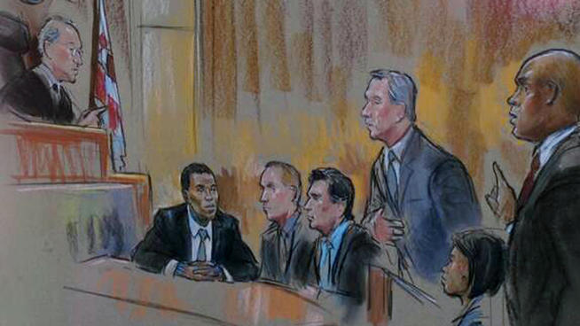 Courtroom sketch of Chris Brown in DC courtroom today with judge and lawyers. Artist: Bill Hennessy