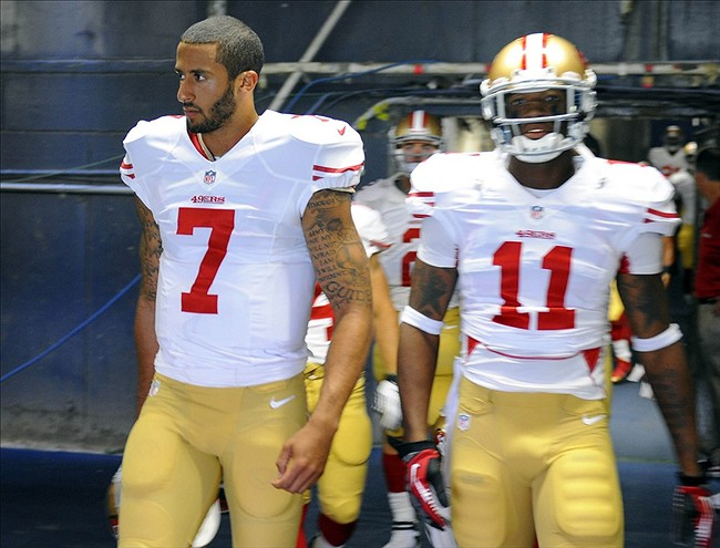 Aug 29, 2013; San Diego, CA, USA; San Francisco 49ers quarterback Colin Kaepernick (7) and receiver Quinton Patton (11) prior to the game against the San Diego Chargers at Qualcomm Stadium.