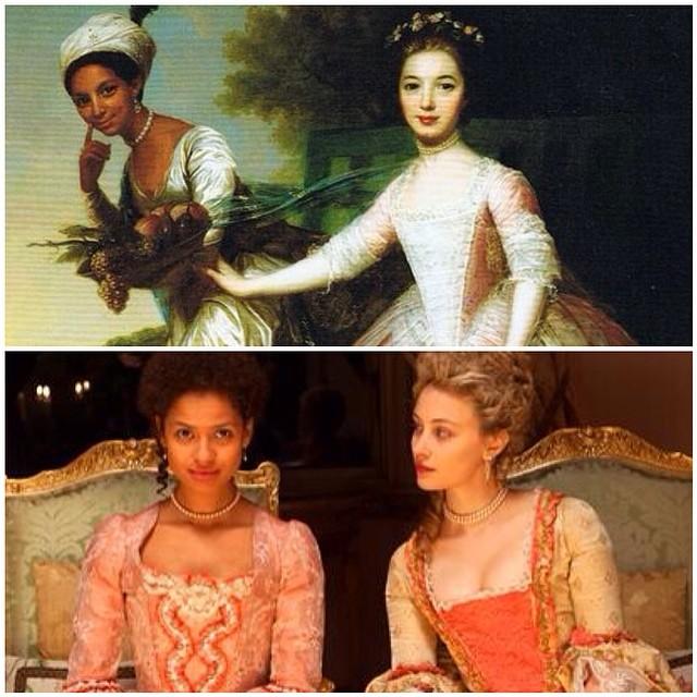Dido and Elizabeth: 1779 painting (top), film (below)