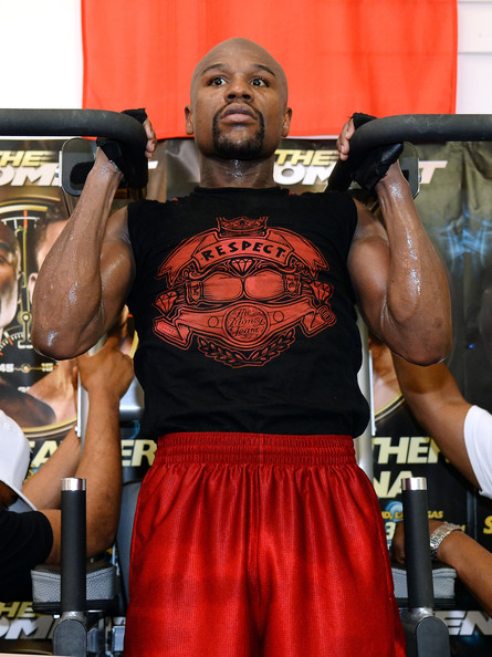 Boxer Floyd Mayweather Jr. works out at the Mayweather Boxing Club on April 22, 2014 in Las Vegas, Nevada