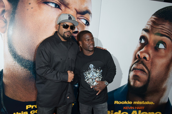 "Ice Cube (L) and Kevin Hart attend the ""Ride Along"" screening>> at AMC Loews Lincoln Square on January 15, 2014 in New York City"