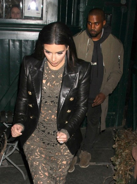 Kim Kardashian and Kanye West leave Waverly Inn after dining with Anna Wintour in New York City, New York on March 25, 2014.