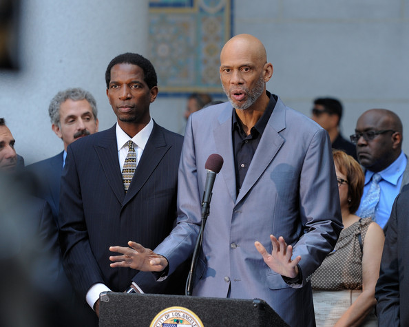 Former Los Angeles Lakers player A. C. Green and Kareem Abdul-Jabbar address the media during the press conference in response to the NBA decision on Donald Sterling ownership at Los Angeles City Hall on April 29, 2014 in Los Angeles, California