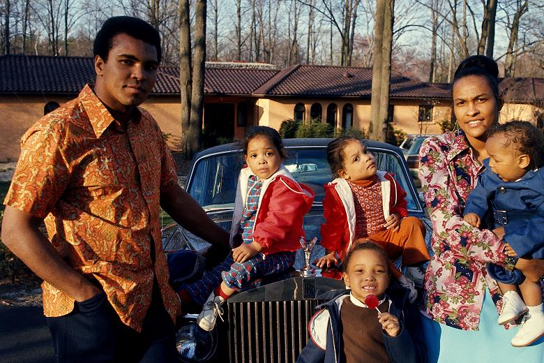 Muhammad Ali with his wife, Khalilah and children.