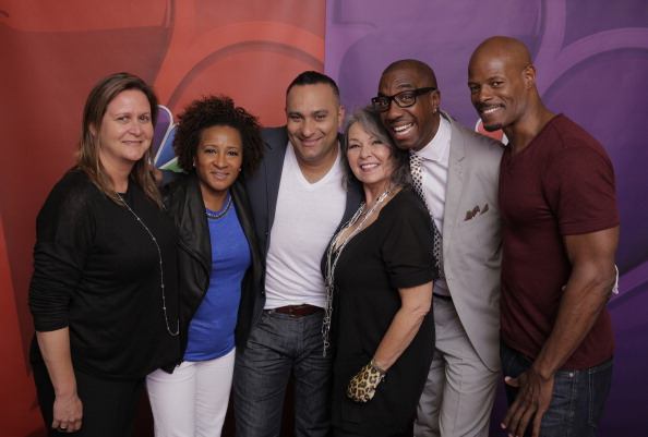 "NBCUniversal Summer Press Day, April 2014 -- Pictured: (l-r) Page Hurwitz, Executive Producer, Wanda Sykes, Executive Producer, Russell Peters, Roseanne Barr, JB Smoove, Keenen Ivory Wayans, ""Last Comic Standing"""