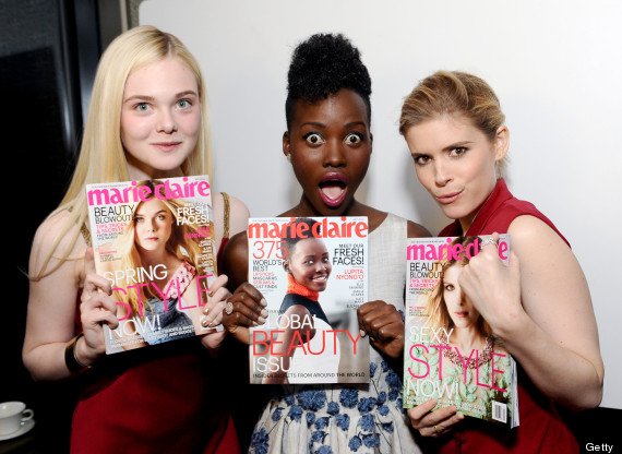 (L-R) Elle Fanning, Lupita Nyong'o and Kate Mara attend Marie Claire Celebrates May Cover Stars on April 8, 2014 in West Hollywood, California.