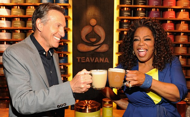 Howard Schultz, chairman, president and ceo of Starbucks, and Oprah Winfrey visit the Teavana Fine Teas + Tea Bar in New York to try the new Teavana Oprah Chai Latte. As part of this new core offering, Starbucks will make a donation for each Oprah Chai Tea product sold in Starbucks and Teavana stores to the Oprah Winfrey Leadership Academy Foundation to benefit educational opportunities for youth.