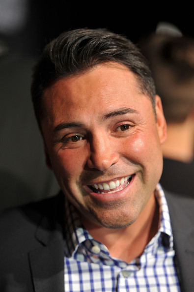 President of Golden Boy Promotions Oscar De La Hoya reacts to comments at the final news conference for the bout between Floyd Mayweather Jr. and Robert Guerrero at the MGM Grand Hotel/Casino on May 1, 2013 in Las Vegas, Nevada