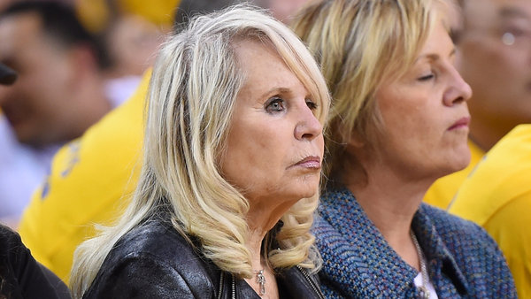 Shelly Sterling, the wife of Donald Sterling owner of the Los Angeles Clippers, watches the Clippers against the Golden State Warriors in Game Four of the Western Conference Quarterfinals during the 2014 NBA Playoffs at ORACLE Arena on April 27, 2014 in Oakland, California.