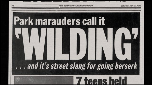 """Headline shown  during PBS' """"The Central Park Five"""""""