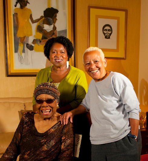 Maya Angelou and Nikki Giovanni with Joanna Gabbin, organizers for a tribute to Toni Morrison