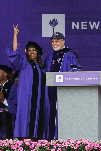 Legendary singer Aretha Franklin receives an honorary doctorate during the 2014 graduation ceremony for New York University at Yankee Stadium on May 21, 2014 in the Bronx borough of New York City.
