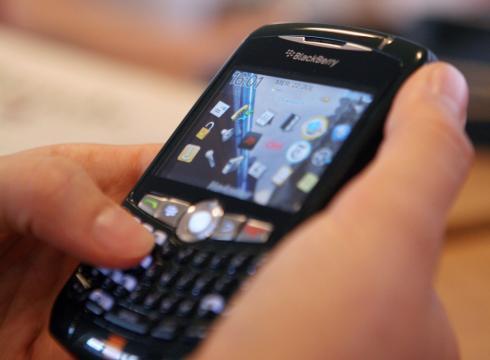 BlackBerry in hands