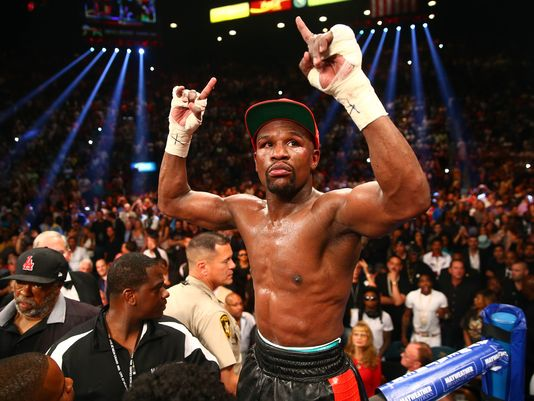 Floyd Mayweather Jr. after defeating Marcos Maidana