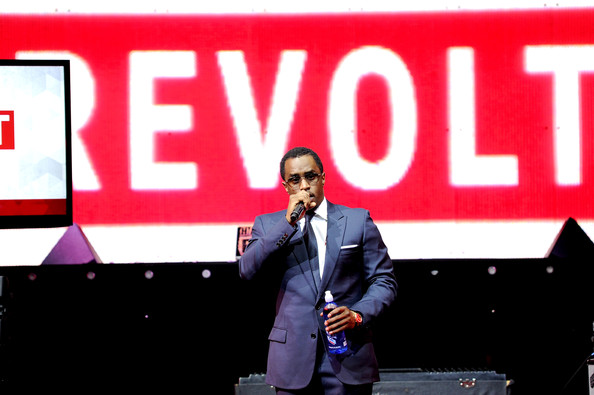 """Sean """"Diddy"""" Combs speaks at the REVOLT TV First Annual Upfront presentation at Marquee on April 22, 2014 in New York City"""