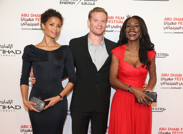 L-R) Gugu, Sam Reid and director Amma Asante attend the Belle premier on day 2 of the Abu Dhabi Film Festival 2013 at Emirates Palace on October 24, 2013 in Abu Dhabi, United Arab Emirates