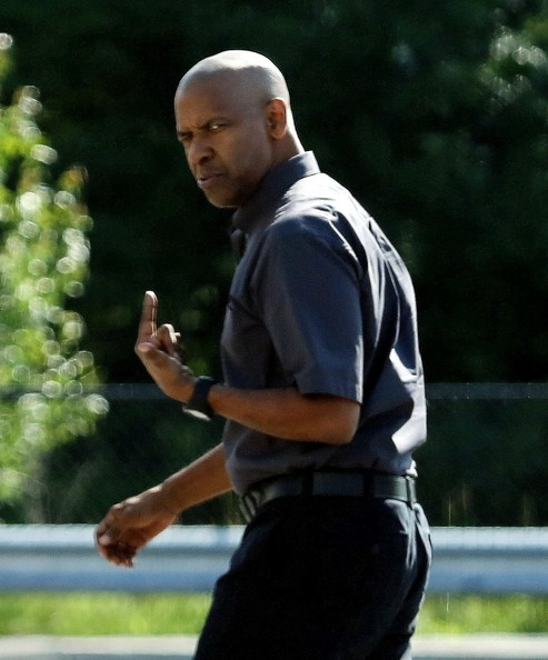 """Denzel Washington on the set of """"The Equalizer"""""""