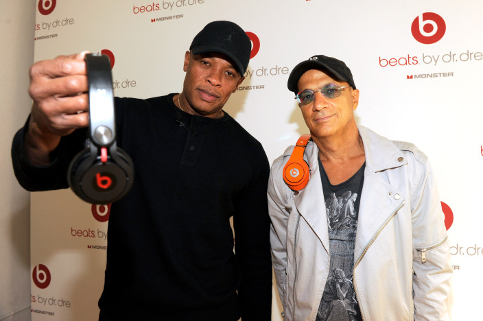 Jimmy Iovine and Dr. Dre attend the unveiling of Beats By Dr. Dre 2011 holiday product line-up at CLVT on October 11, 2011 in New York City.