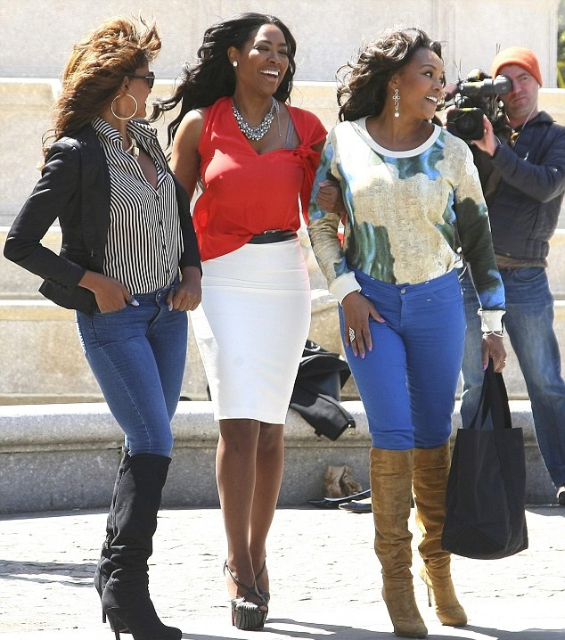 From left: Vivica Fox, Claudia Jordan and Kenya Moore seen filming Celebrity Apprentice in New York in April