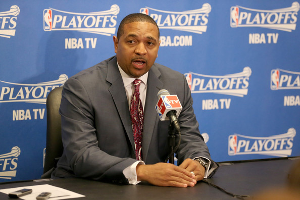 Head coach Mark Jackson of the Golden State Warriors speaks at a press conference before playing the Los Angeles Clippers in Game Five of the Western Conference Quarterfinals during the 2014 NBA Playoffs at Staples Center on April 29, 2014 in Los Angeles